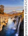 Waterfall. Fall foliage in autumn season and Mountain Fuji near 45805252