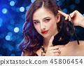 Beauty model woman wearing venetian masquerade carnival mask at party 45806454