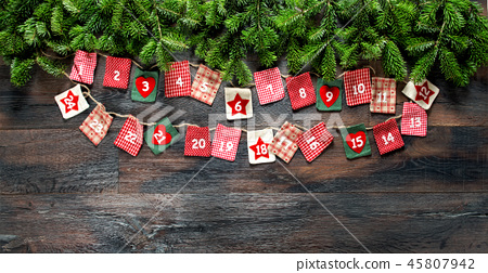 Advent calendar Christmas tree branches wooden 45807942