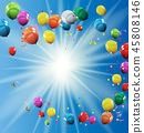 Group of Colour Glossy Helium Balloons Background 45808146