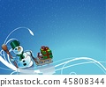Snowman and Winter Floral Background 45808344