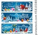 Santa Claus, Christmas gifts and reindeer sleigh 45810380