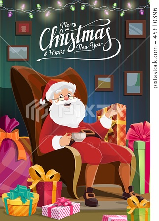 Christmas Santa sit in chair, New Year holiday 45810396