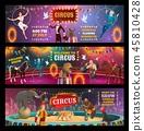 Circus show clown, animals, magician and acrobats 45810428