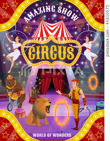 Circus show with animals, trainer and air acrobats 45810575