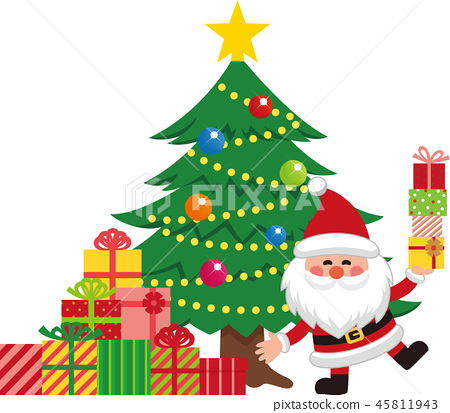 Santa Claus and Christmas Tree Set 4. Santa with a present. Vector material. 45811943