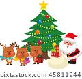 산타 클로스와 크리스마스 트리 세트 3. 가방에서 선물을내는 산타 클로스. 벡터 소재. 45811944