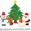 산타 클로스와 크리스마스 트리 세트 2. 가방에서 선물을내는 산타 클로스. 벡터 소재. 45811945