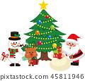 산타 클로스와 크리스마스 트리 세트 1. 가방에서 선물을내는 산타 클로스. 벡터 소재. 45811946