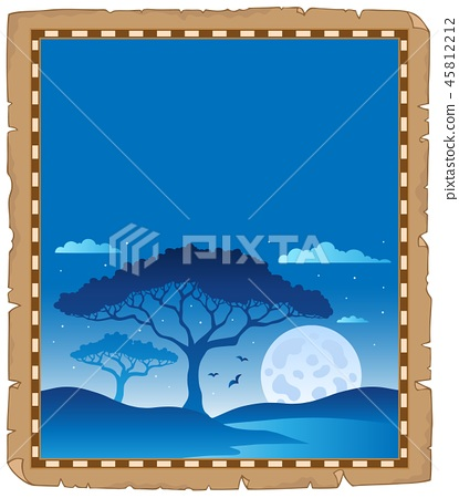 Parchment with savannah night scenery 45812212