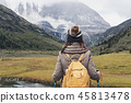 Hiking young woman traveler 45813478