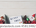 Christmas decoration on white wooden background 45813482