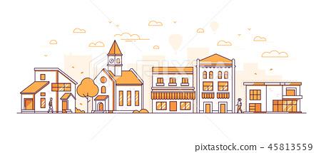 Suburban landscape - modern thin line design style vector illustration 45813559