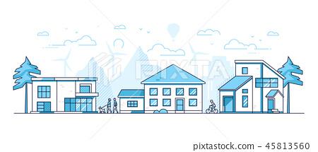 Town life - modern thin line design style vector illustration 45813560
