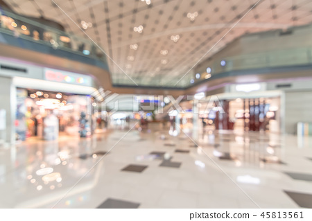 Shopping mall blur background with interior view 45813561