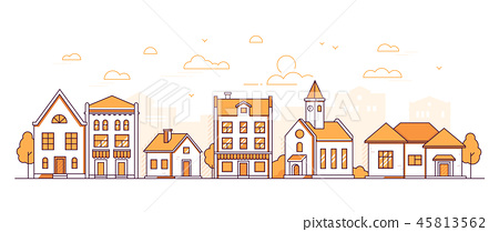 Town life - modern thin line design style vector illustration 45813562