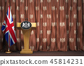 Podium speaker tribune with flags of Great Britain 45814231
