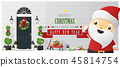 Decorated Christmas front door and Santa Claus  45814754