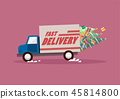 Delivery truck carrying christmas trees and gifts 45814800