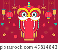 Chinese New Year background, greeting card with a lion dance, red dragon character 45814843