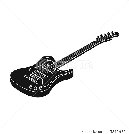 Electric guitar icon in black style isolated on white background. Musical instruments symbol stock 45815982