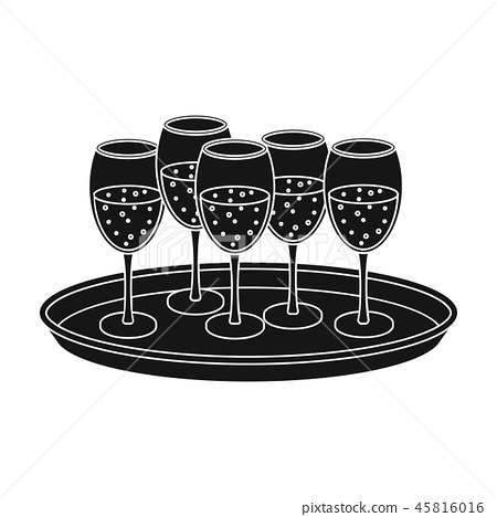Tray with champagne glasses icon in black style isolated on white background. Event service symbol 45816016