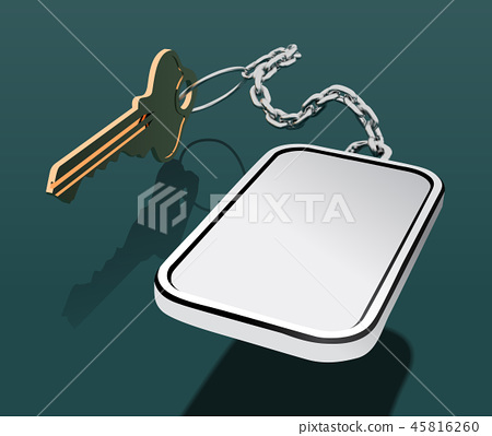 Key with keychain on a chain, with a place for your logo. Mock up vector 45816260