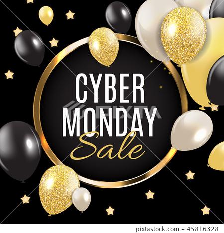 Cyber Monday Sale Background Vector Illustration 45816328