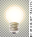 Naturalistic lit glowing light bulb. 45816607