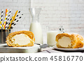 Vanilla cream roll pastry on a table 45816770