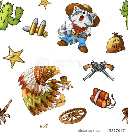 Western and rodeo seamless background pattern with colored vector elements 45817047