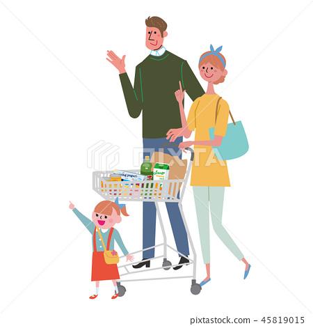 购物车夫妇妇女购物 45819015