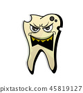 Dental problem evil yellow rotten tooth  45819127