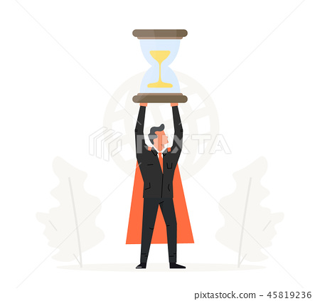 Businessman hold hourglass over his head. Business time management illustration. Success, champion 45819236