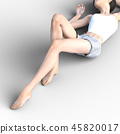 여성 스킨 케어 이미지 다리 각선미 perming3DCG 일러스트 소재 45820017