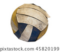 Old volleyball on white background 45820199