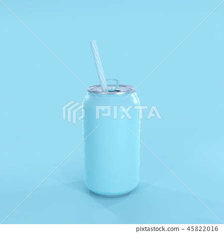 Blue soda can Mockup minimal concept 45822016