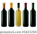 Wine bottles isolated on white 45823294