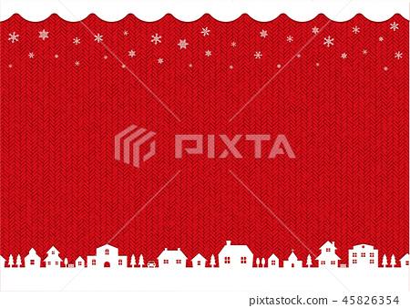 겨울 크리스마스 이미지 배경 일러스트 (뜨개질 · 뜨게질 무늬) / 레드 45826354