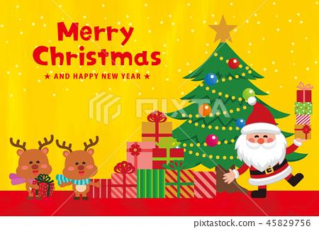 聖誕節材料。聖誕賀卡。有禮物的聖誕老人。矢量素材 45829756
