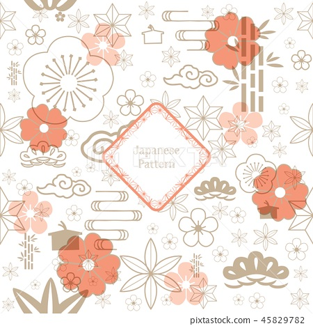 Japanese pattern vector. Flower icons background  45829782