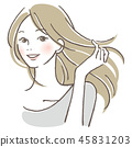 A woman hairing her hair 45831203