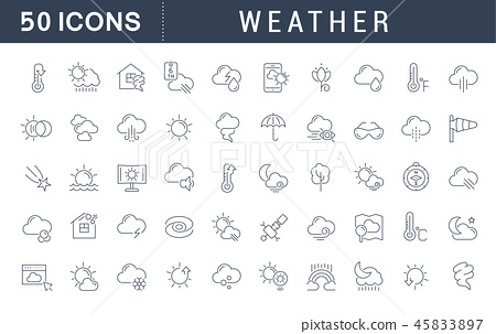 Set Vector Line Icons of Weather. 45833897