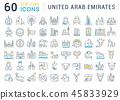 Set Vector Line Icons of United Arab Emirates. 45833929
