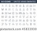 Set Vector Line Icons of United Arab Emirates. 45833930