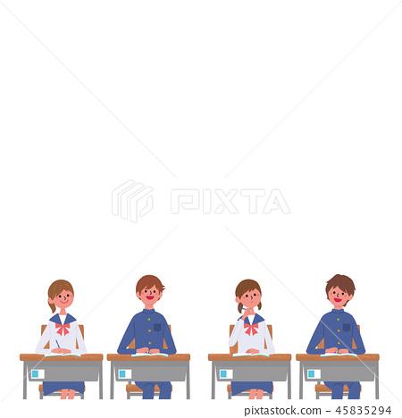 學習坐在書桌學生學生例證的孩子 45835294