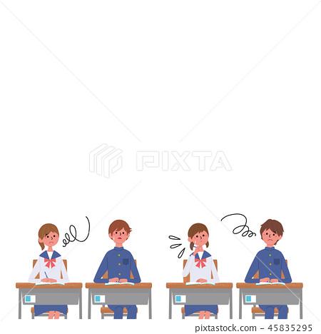 學習坐在書桌學生學生例證的孩子 45835295