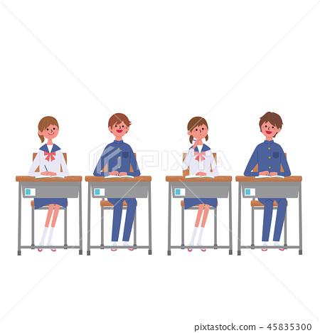 學習坐在書桌學生學生例證的孩子 45835300
