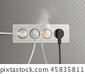 Burning electrical outlet with power plugs vector 45835811