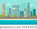 City buildings from sea beach view vector illustration, flat cartoon high city skyscraper buildings 45835819